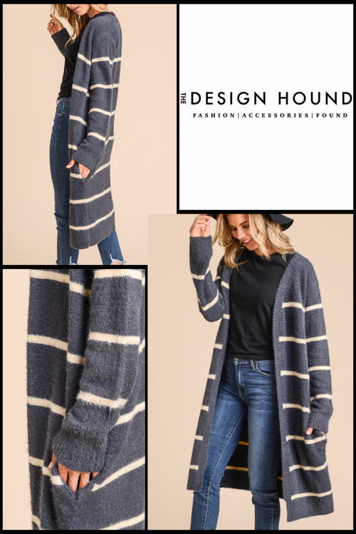 Tulsa Cozy Striped Open Front Cardigan