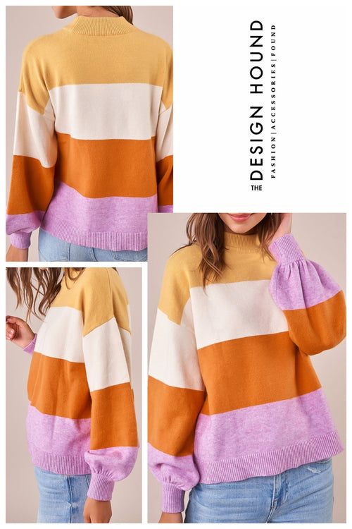 Vail Colorblock mock neck sweater