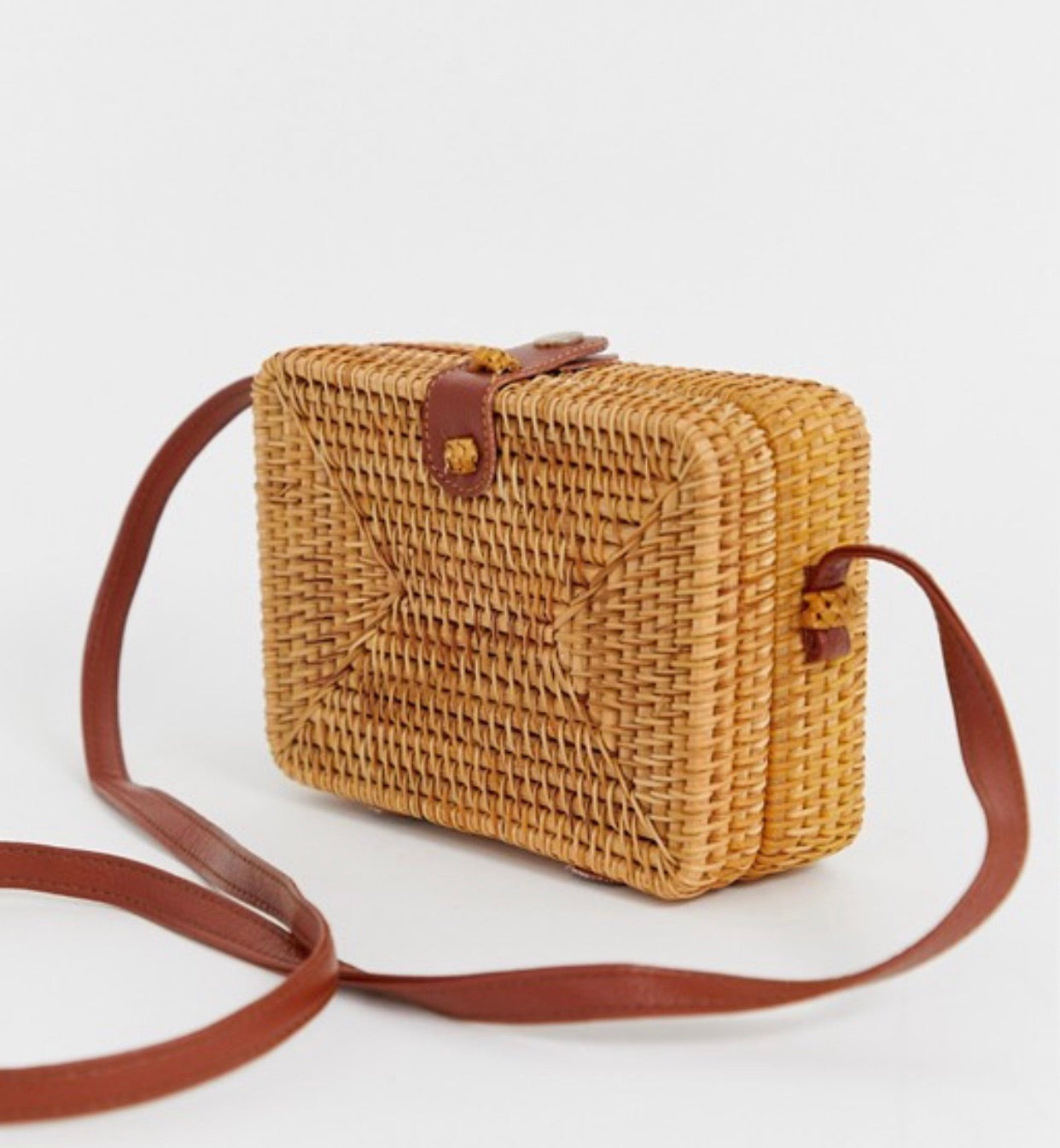 Rattan Structure Square crossbody bag