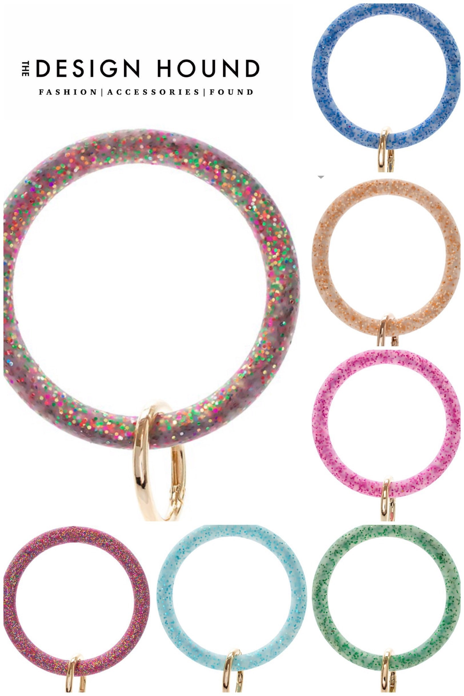 Silicone Glitter Circle Key Ring