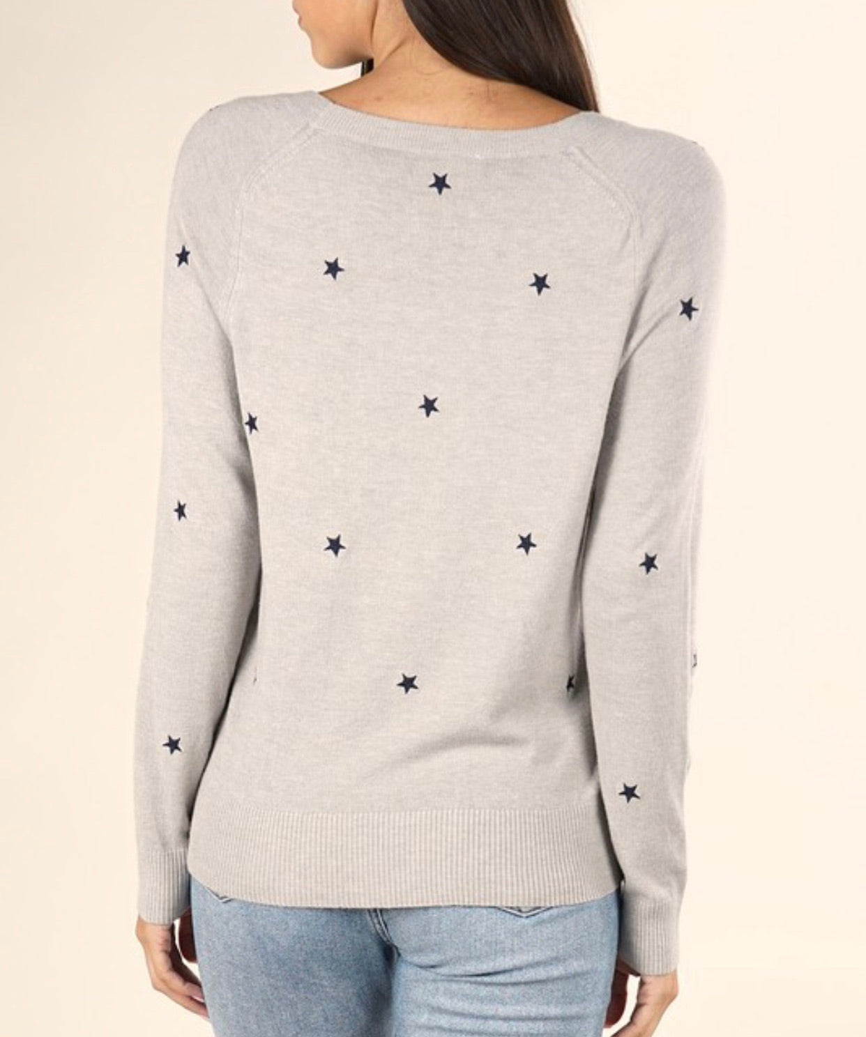 Stars Heather Grey Knit Sweater