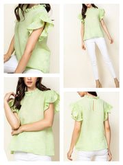Kylie Flutter sleeve top by THML top