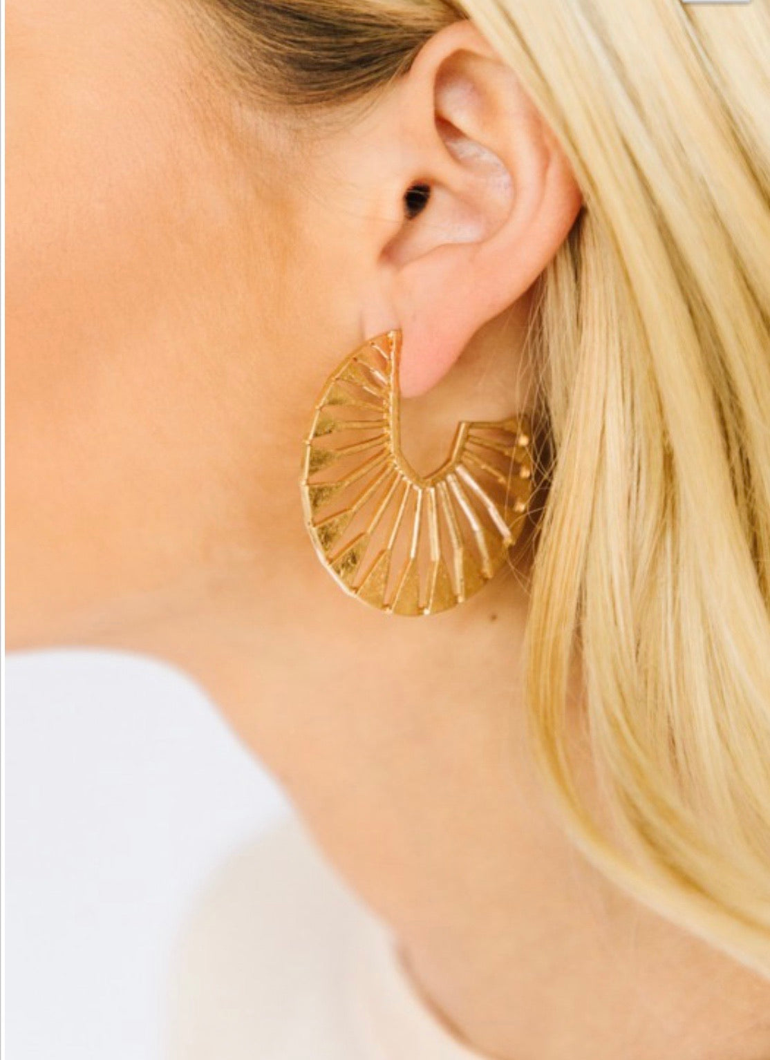 Gold Sunbeam Brushed Earrings