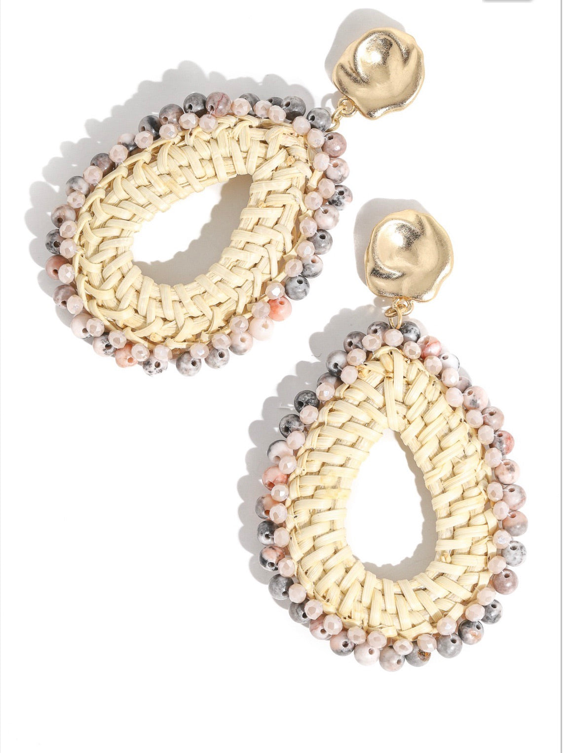 Neutral Woven Beaded Oval Drop Earrrings