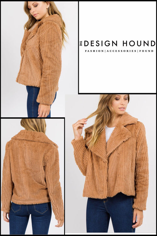August Camel Faux Fur Plush Jacket