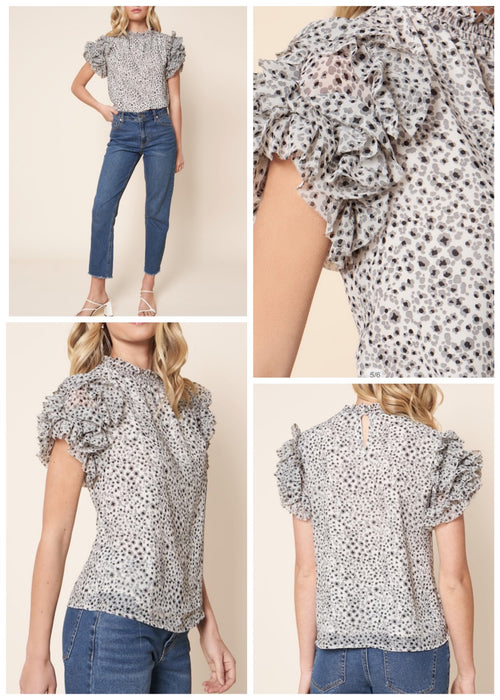 Houston leopard print chiffon blouse