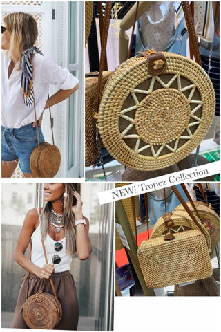 Bali Straw Square wooden handle handbag
