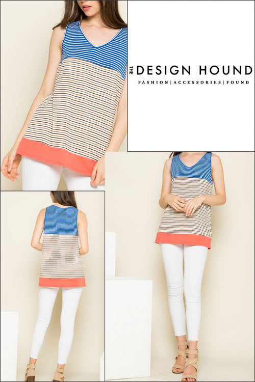 Jackson Striped v neck sleeveless top by THML Brand
