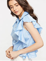 Houston denim blue ruffle blouse