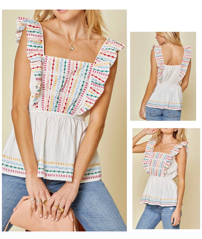 Stella Embroidered Sleeveless Top