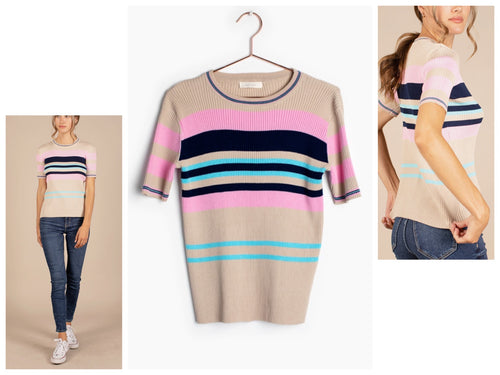 Darby Ribbed striped tee
