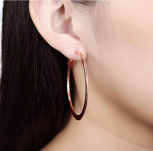 Rose gold 14K Gold plated Hoop Earrings