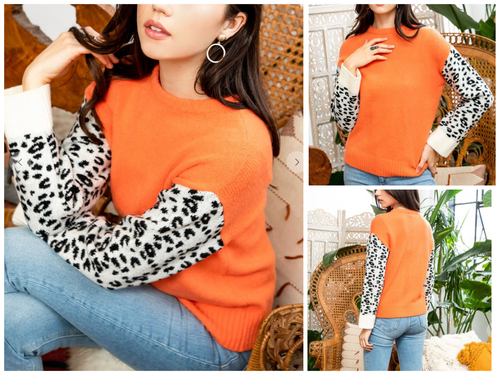 Carlyle Knit Top with Leopard sleeve by THML Clothing