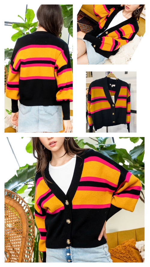Gleason Striped Cardigan by THML Brand