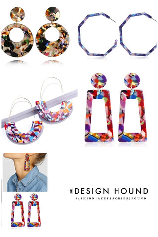 Neon Acrylic Semi Hoop Earrings