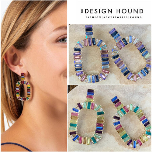 Gemstone Rainbow Drop Earrings