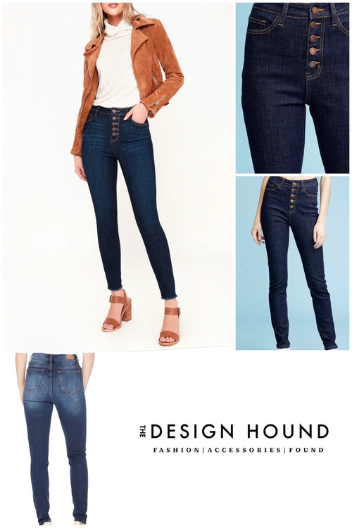 Williams Five Button dark skinny jeans by Judy Blue