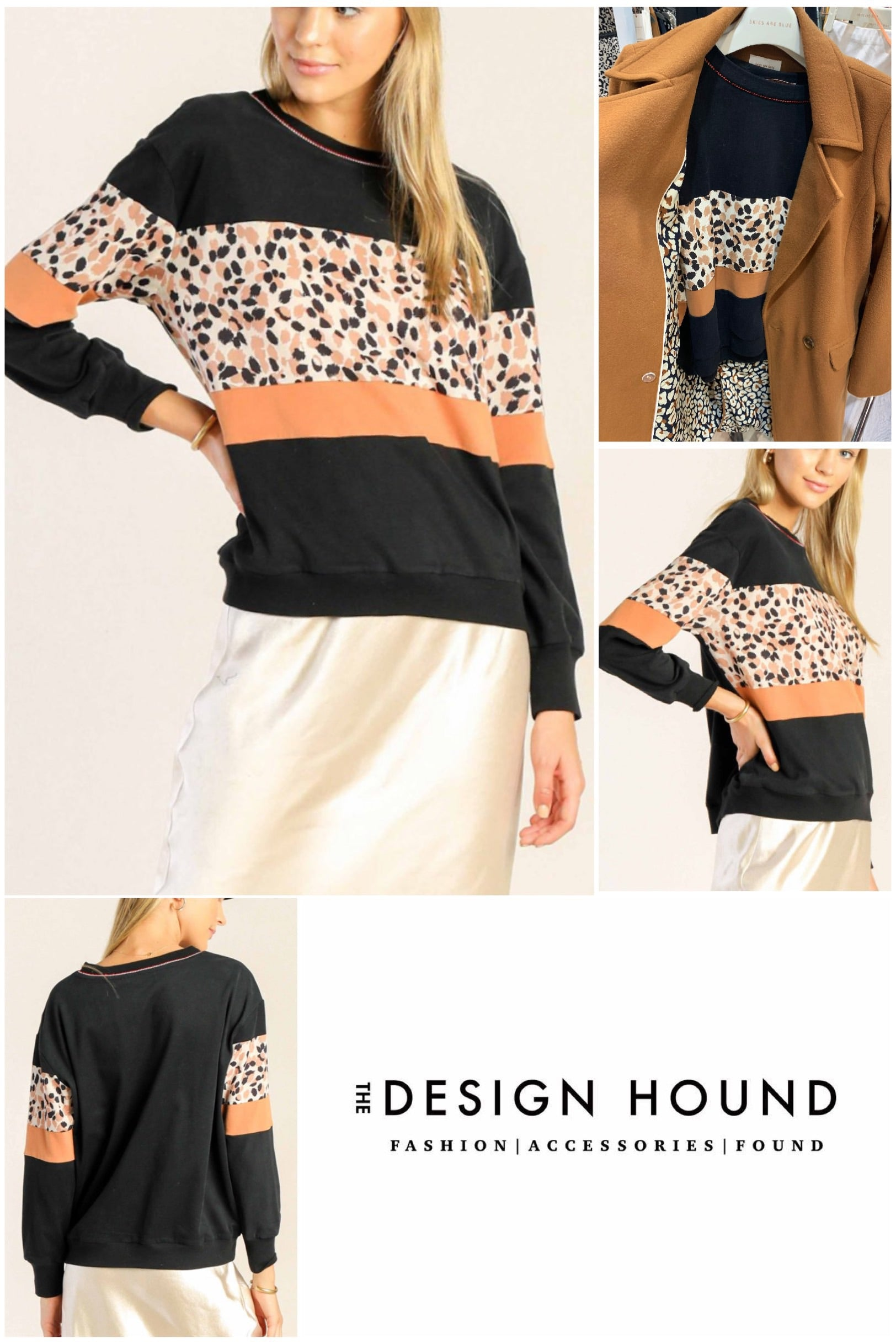 Carlyle Animal Print Colorblock pullover