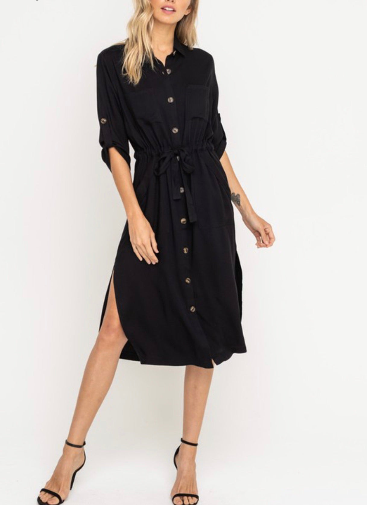 Southern Black Shirt Dress midi style with front tie