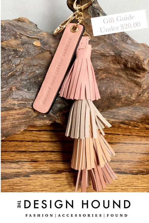 Leather Tassel Keychain in Hues of Blush