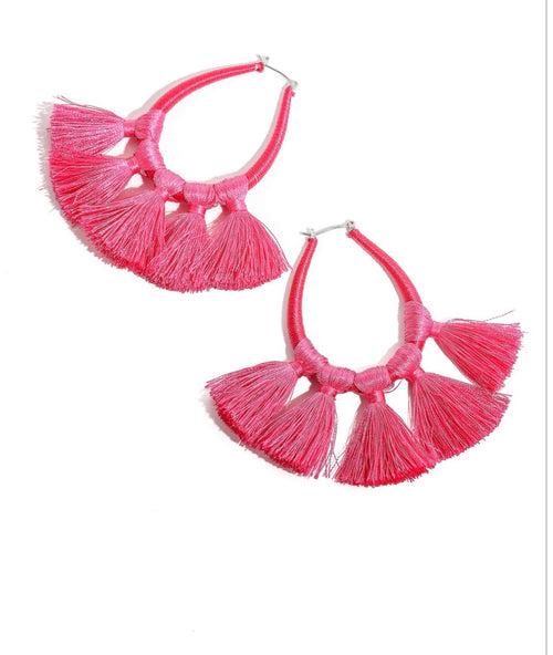 Multi tassel wrap hoop earrings