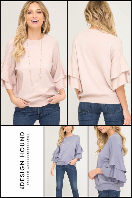 Marx Double Ruffle soft knit top