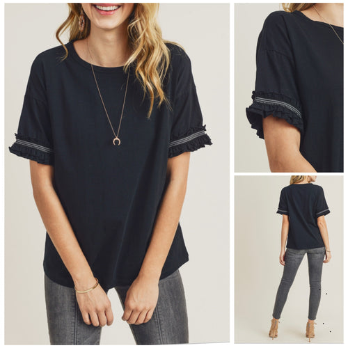 Styles Black Solid Tee with pleated sleeve detail