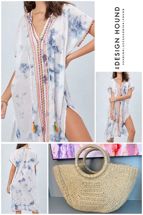 Evans Tie Dye Cover Up Kaftan