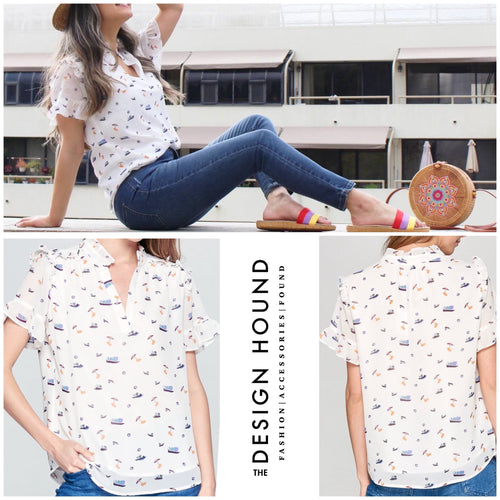 Windsor Sail Away Print Top