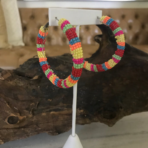 Seed beaded colorful hoop earrings