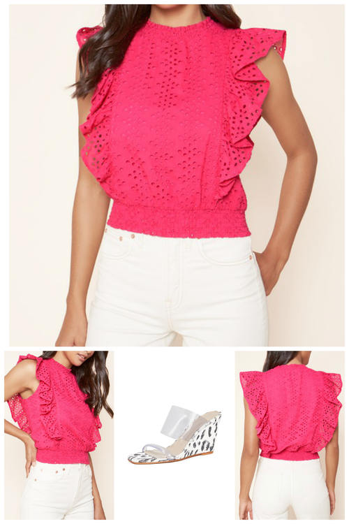 Ellsworth Ruffled eyelet cropped blouse