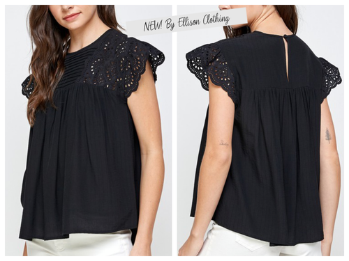 Cannes Black Eyelet Blouse