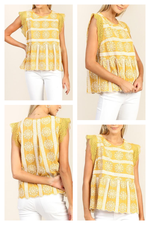Mimosa Yellow Eyelet Top