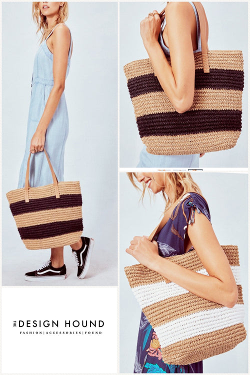 Tuscan Woven straw striped Tote