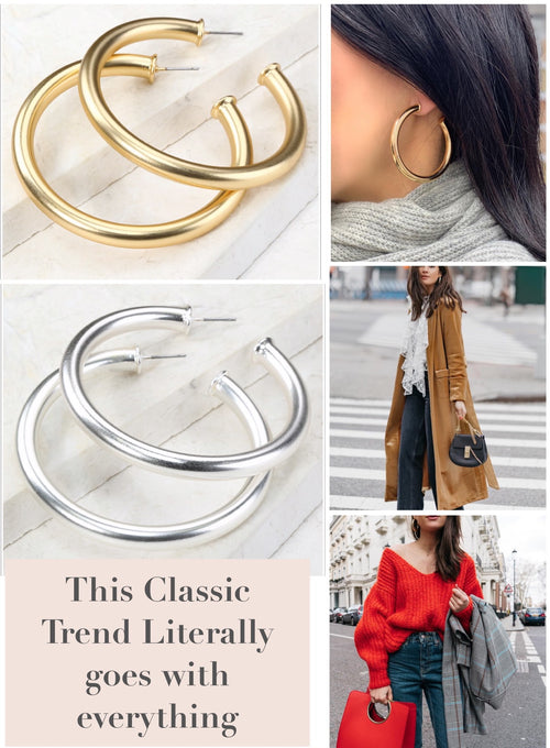 Polished Tube Hoop Earrings in Gold or Silver