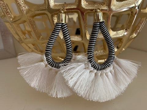 Ivory Raffia Pearl Drop Statement Earrings