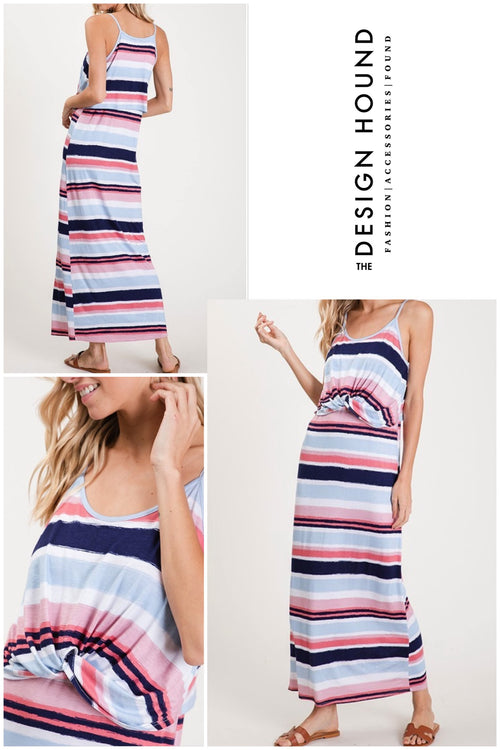 Montauk striped maxi dress with front tie details