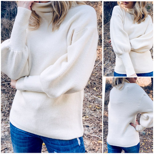 Ivory Balloon Sleeve Sweater