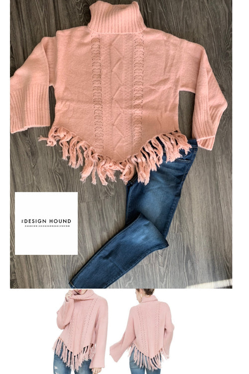 Aspen Blush Turtleneck Fringe Sweater