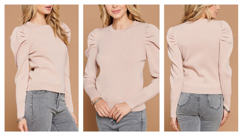 Saller Puff Sleeve Ribbed Knit top