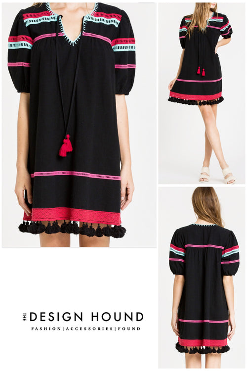 Harlow Black tassel Embroidered Dress by Endless Rose