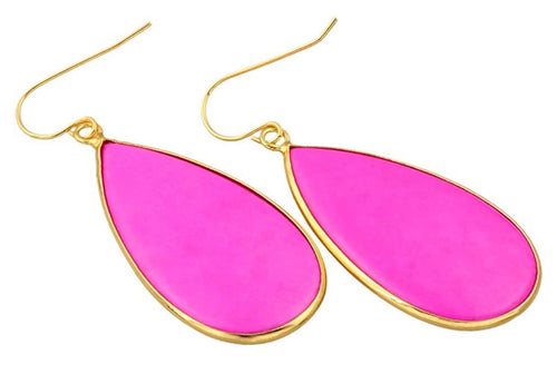Fuchsia Gemstone Drop Earrings