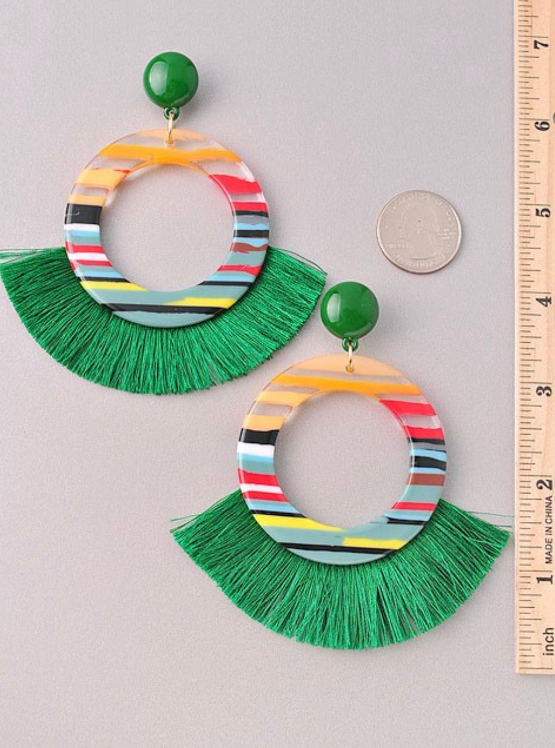 Acrylic Circle Drop tassel earrings