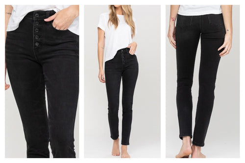 Black five button skinny jeans