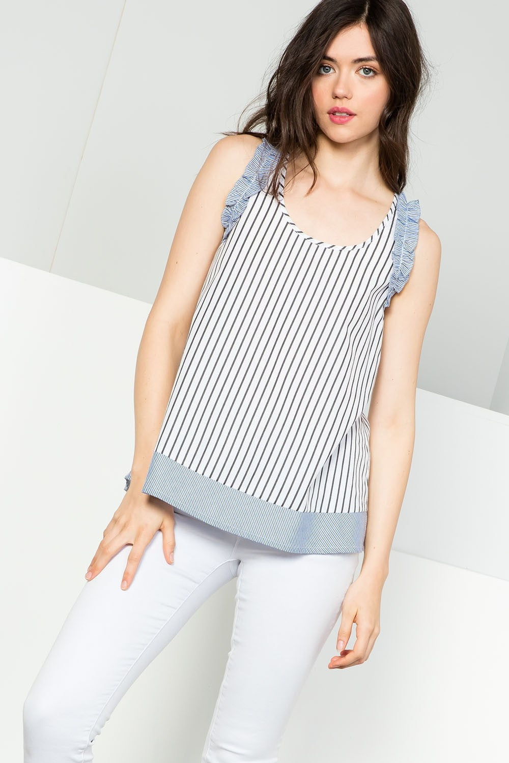 THML Aidan Ruffle Trim Sleeveless Top
