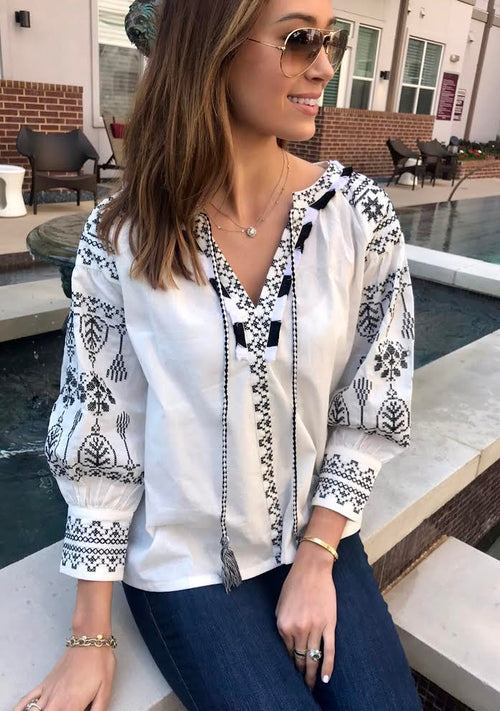 Seville Detailed Embroidered Blouse