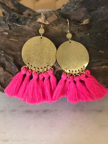 Beaded Fringe Circle Drop Earrings