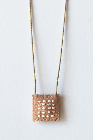 Leather Talisman Necklace w/ Pearls