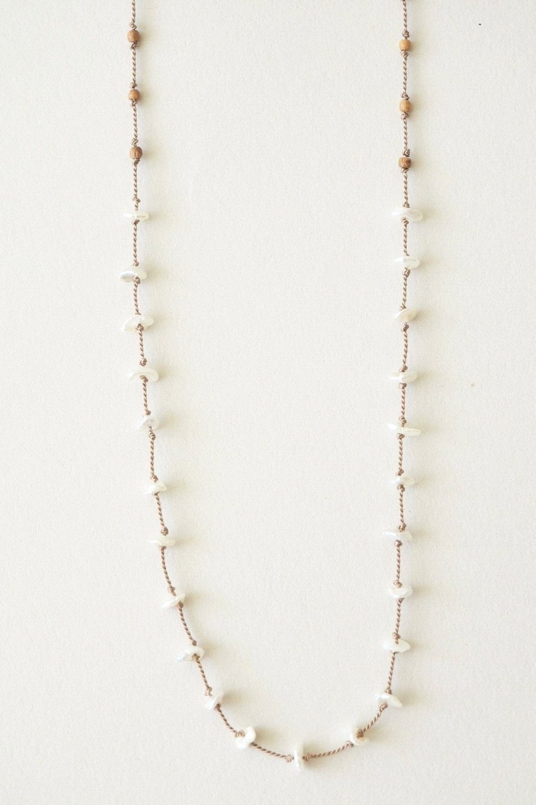 desert sandalwood and mother of pearl necklace