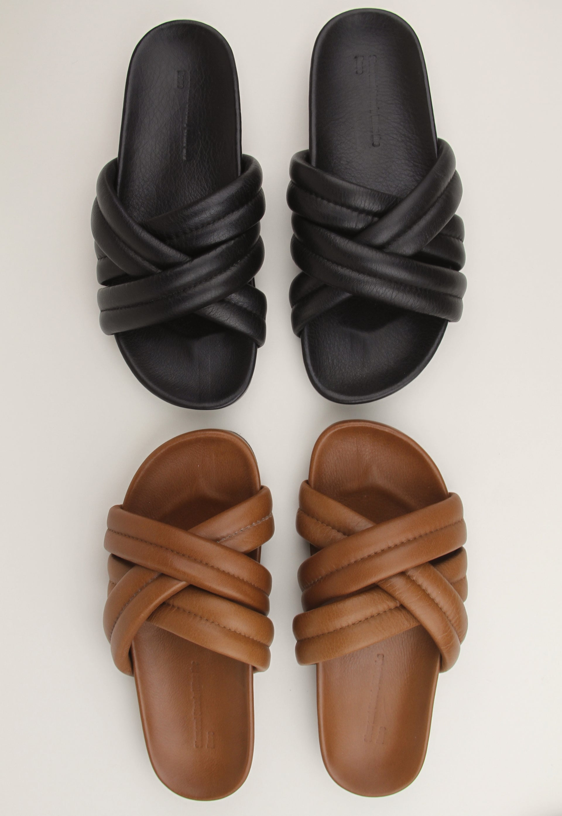 Triple Strap Leather Slides
